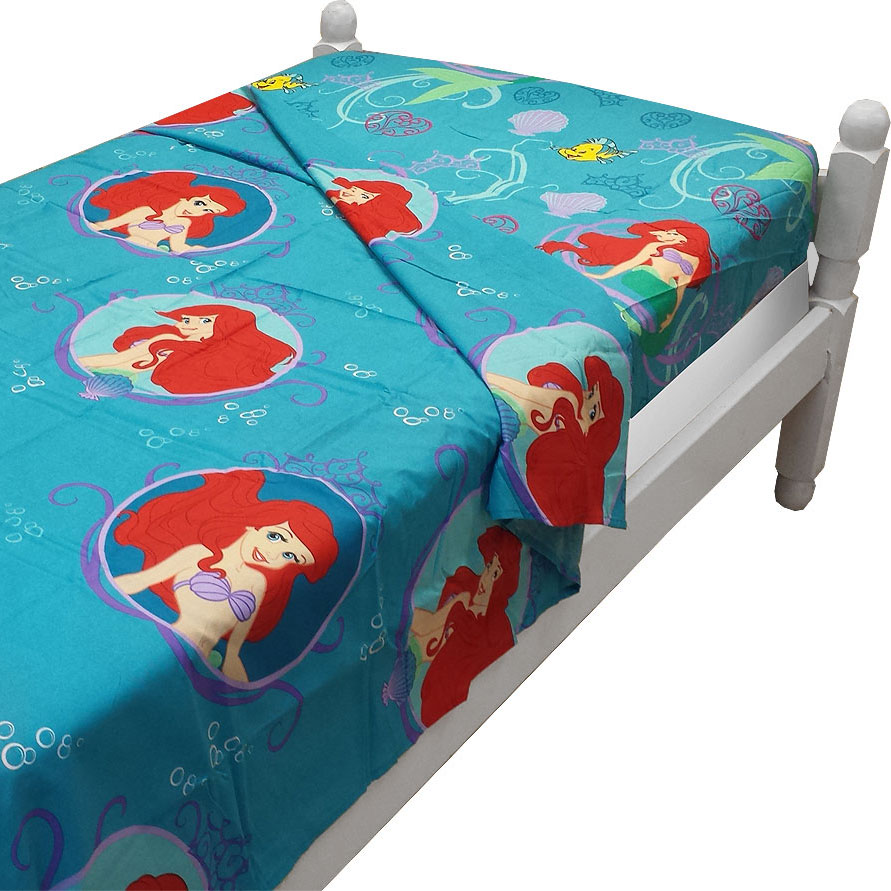 2pc Disney Little Mermaid Twin Sheet Set Ariel Princess of the Waves Flat and Fitted Sheets
