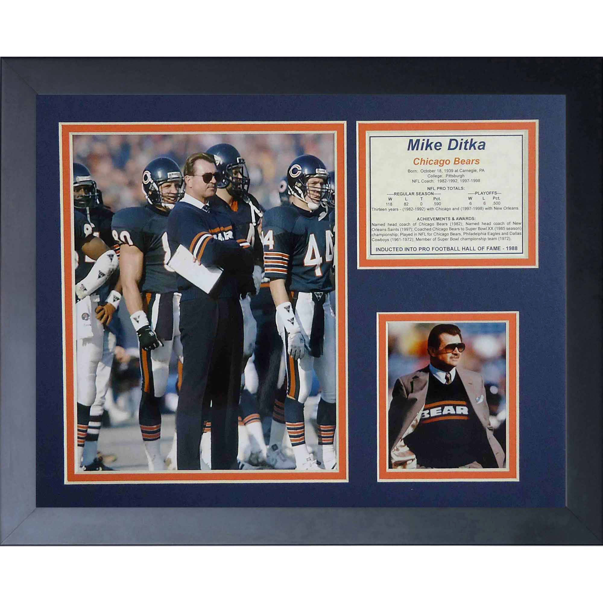 """Legends Never Die """"Mike Ditka Coach"""" Framed Photo Collage, 11"""" x 14"""" by Legends Never Die, Inc"""