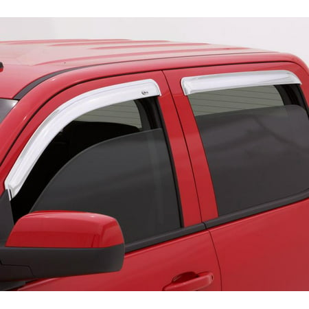 Chrome Wind Deflectors (AVS 15-18 Ford F-150 Supercrew Ventvisor Outside Mount Front & Rear Window Deflectors 4pc -)
