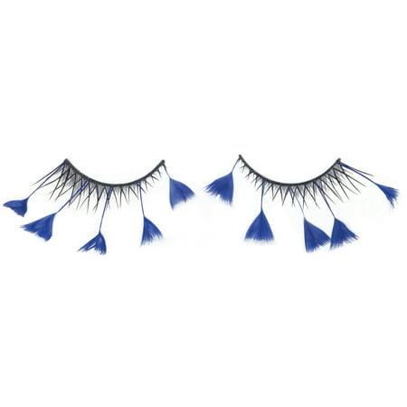 Loftus Showgirl Costume Feather 2pc Eyelashes, Blue, One Size