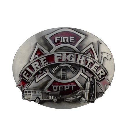 Metal Firefighter FD Logo Belt Buckle Men's/Women Fashion Fire Dept Fireman (Flag Metal Belt Buckle)