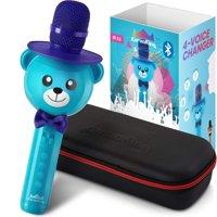 KaraoKing Wireless Portable Karaoke Microphone with Bluetooth for Kids (Blue)