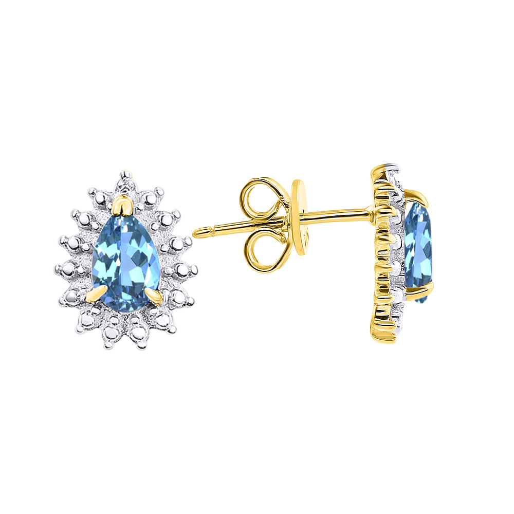 Details about  /14k Yellow Gold Blue Topaz Pear-Shaped Earring