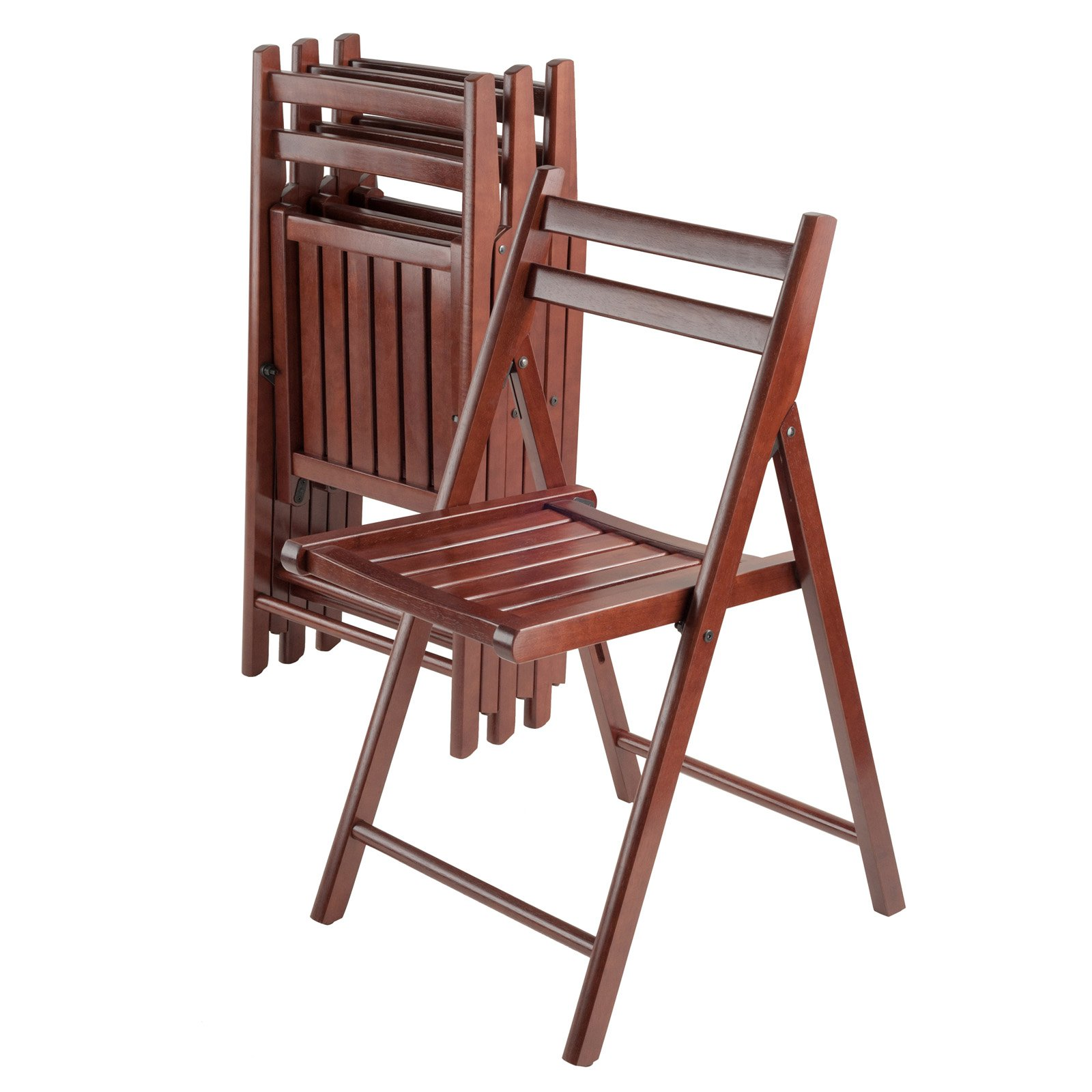 Set of 4 Folding Chairs, Walnut