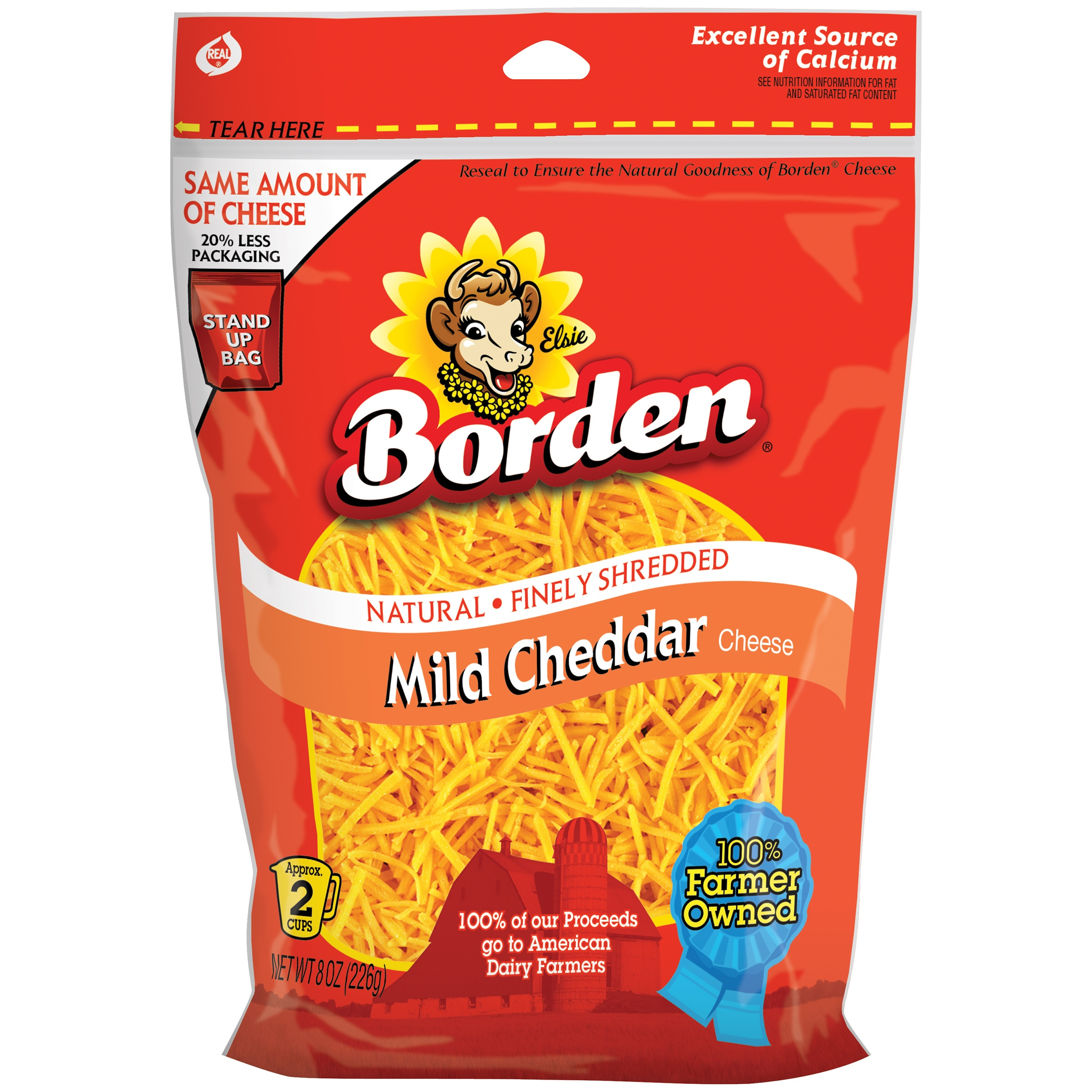 Borden® Mild Cheddar Finely Shredded Cheese 8 oz. Peg