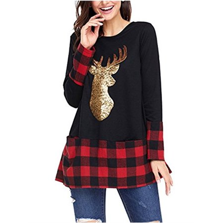 Christmas Style Deer Plaid Print Women Long Sleeve Top Shirt - Womens Christmas Suits