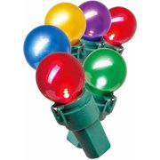 Holiday Time LED Lite-Lock Pearl-ized Glass G15 Christmas Lights, Multi-Color, 70-Count