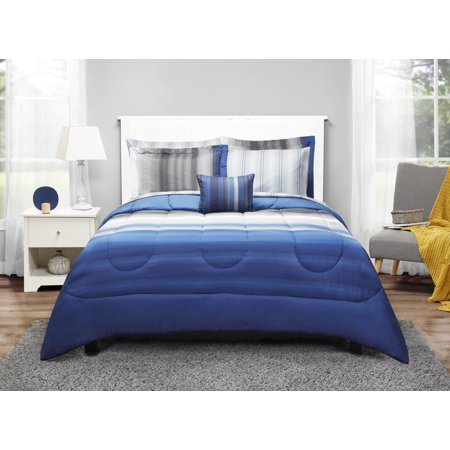 Mainstays Full Blue Ombre Bed in a Bag Bedding Set, 8 Piece