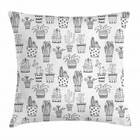 Cactus Throw Pillow Cushion Cover, Doodle Flowers in Pots with Polka Dots and Zig Zags Tropical Plants Monochrome, Decorative Square Accent Pillow Case, 18 X 18 Inches, Grey and White, by Ambesonne - Dot Flowers