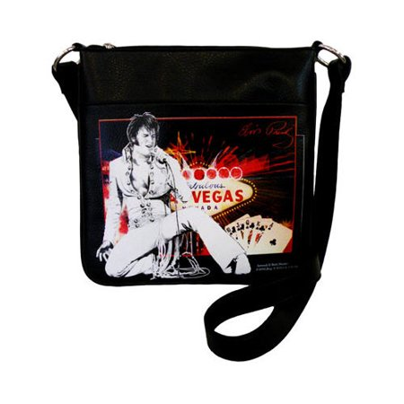 Women's Elvis Presley Signature Product Elvis Presley Crossbody Bag EL3811 Black (Cline Products Bags)