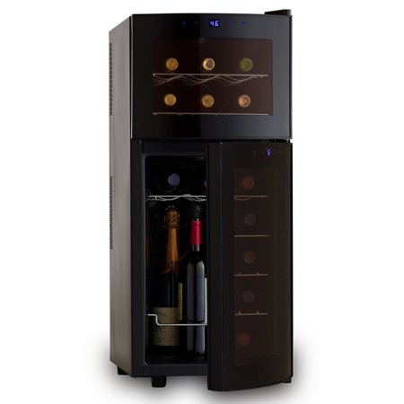 The Wine Enthusiast 272031910 21 Bottle Wine Cooler Appl Dual Zonefridge With Curved Doors