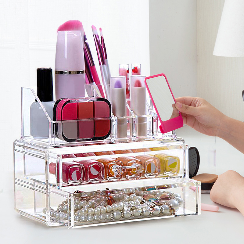 Product Image 2 Drawer Jewelry Makeup Storage Cosmeticdisplay Organizer  Clear Cosmetic Display Stand Holder Home Organizer