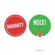 Naughty or Nice Red, Green Christmas Round Circle Gift Label Stickers, 40-Pack