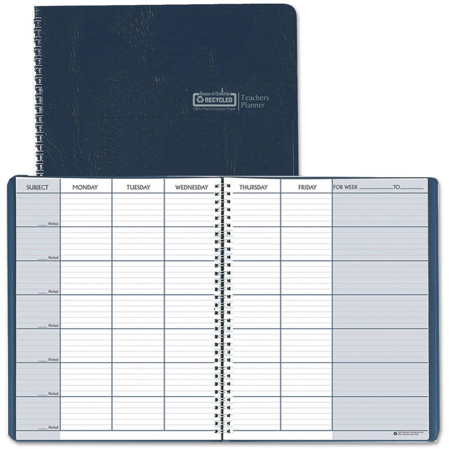 "House of Doolittle Teacher's Planner, Embossed Simulated Leather Cover, 11"" x 8-1/2"", Blue"