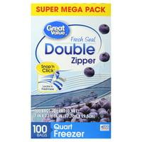Great Value Fresh Seal Double Zipper Freezer Bags, Quart, 100 Count