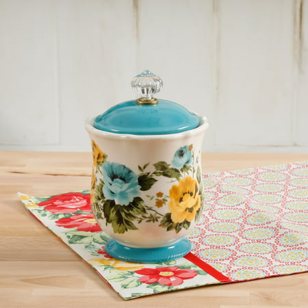 Decorated Storage Canisters (The Pioneer Woman Rose Shadow 8.25-Inch Canister w/Acrylic Knob )
