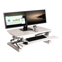 "AIRLIFT Black 35.4"" Height Adjustable Standing Desk Converter Workstation With Dual Monitor Riser and Keyboard Tray"