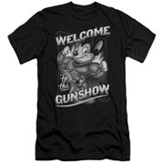 Trevco Mighty Mouse-Mighty Gunshow - Short Sleeve Adult 30-1 Tee - Black, Large