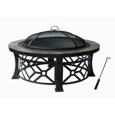 Fire Pit With Pvc Cover  Black With Antique Bronze Leg Frame