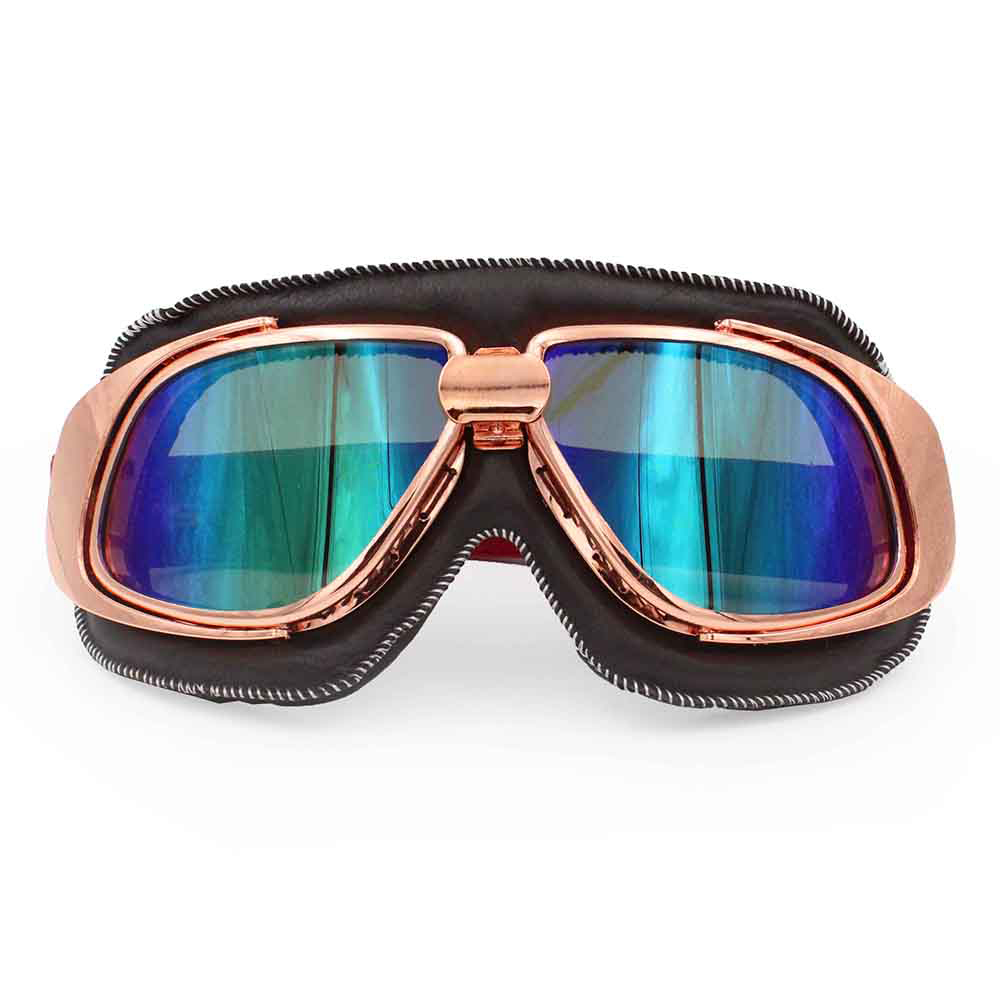 Ediors Rose Gold Frame Motorcycle Goggles Retro Aviator Style Black Leather Pilot Helmet Steampunk Eyewear ATV(1A-Multi-color Lens)
