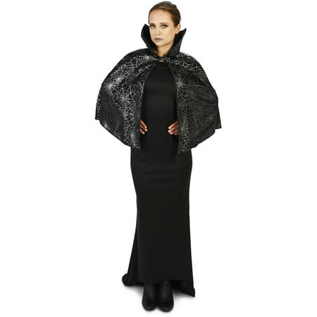 Black Spider Web Adult Cape Halloween Accessory - Spider Web Eyes Halloween Makeup
