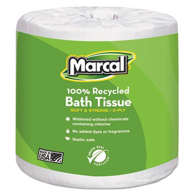 - 100% Recycled Two-Ply Bath Tissue, White, 48 Rolls/Carton 6079