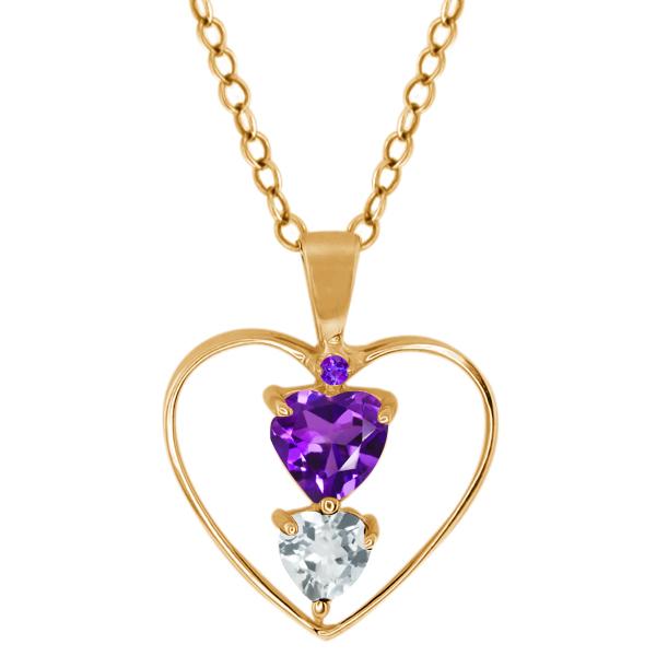 0.61 Ct Heart Shape Purple Amethyst Sky Blue Aquamarine 14K Yellow Gold Pendant