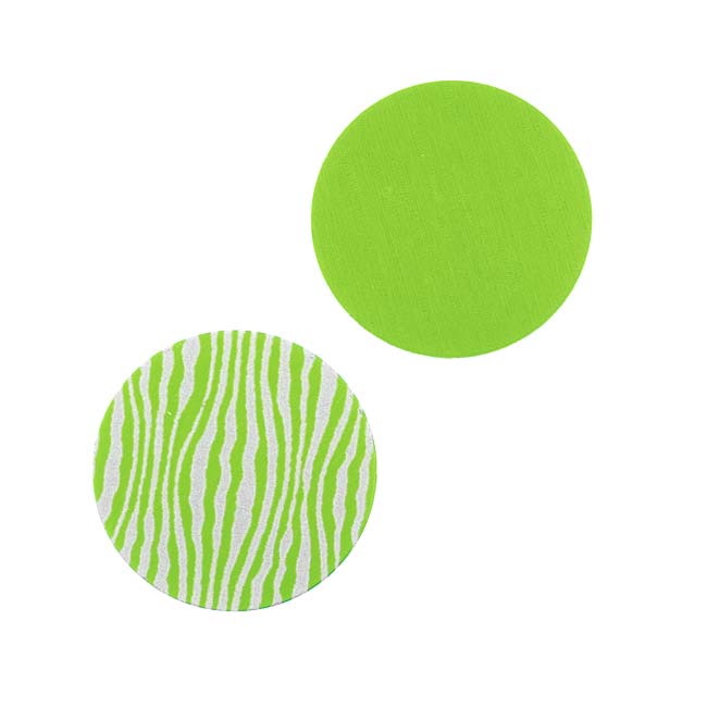 Lillypilly Aluminum Circle Stamping Lime Green W/Zebra Print 19mm (2)