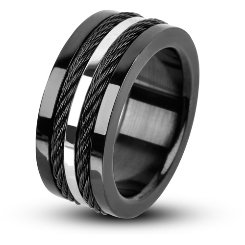 Steel Art Men's Black Polish Finished PVD with Multiple Cables Inlayed and A Single Steel-Tone Strip Going Down the Middle Ring