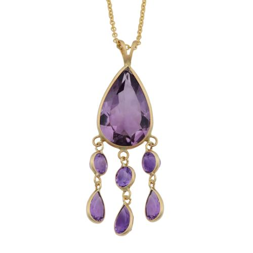 Fremada 14k Yellow Gold Amethyst Drop Necklace (18 inches) by Overstock