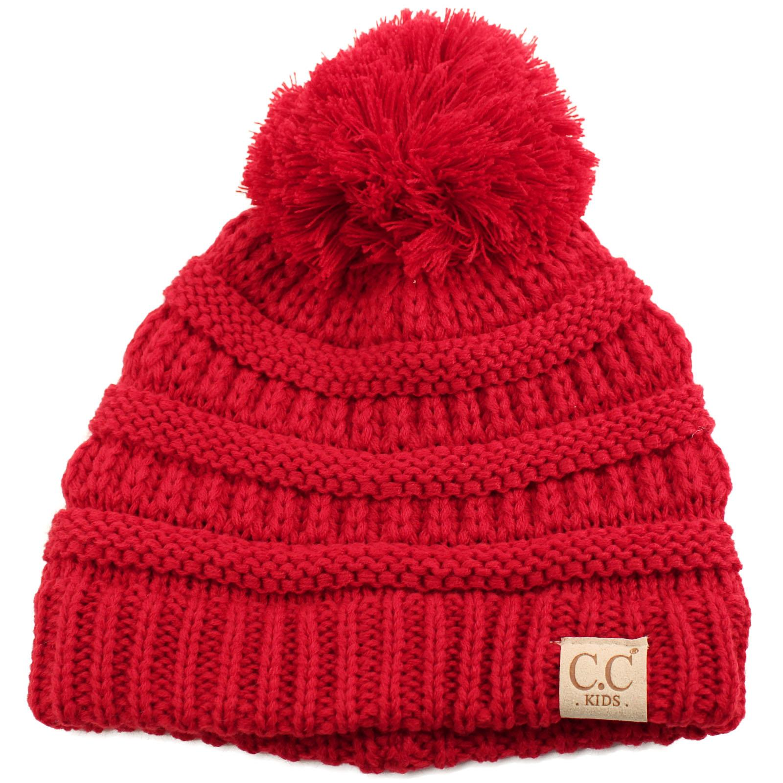 Kids CC Ages 2-7 Pom Pom Ears Chunky Thick Stretchy Knit Soft Beanie Hat