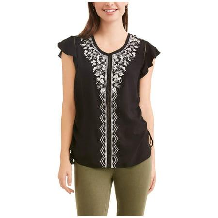 c070a6bb44918 Time and Tru - Women s Flutter Sleeve Top - Walmart.com