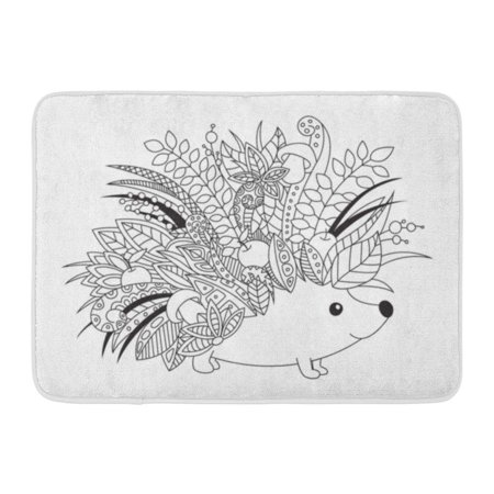 GODPOK Black Outlined Doodle Anti Stress Coloring Book Page Cute Floral Hedgehog for Adults and Children White Rug Doormat Bath Mat 23.6x15.7 inch (Hedgehog Outline)