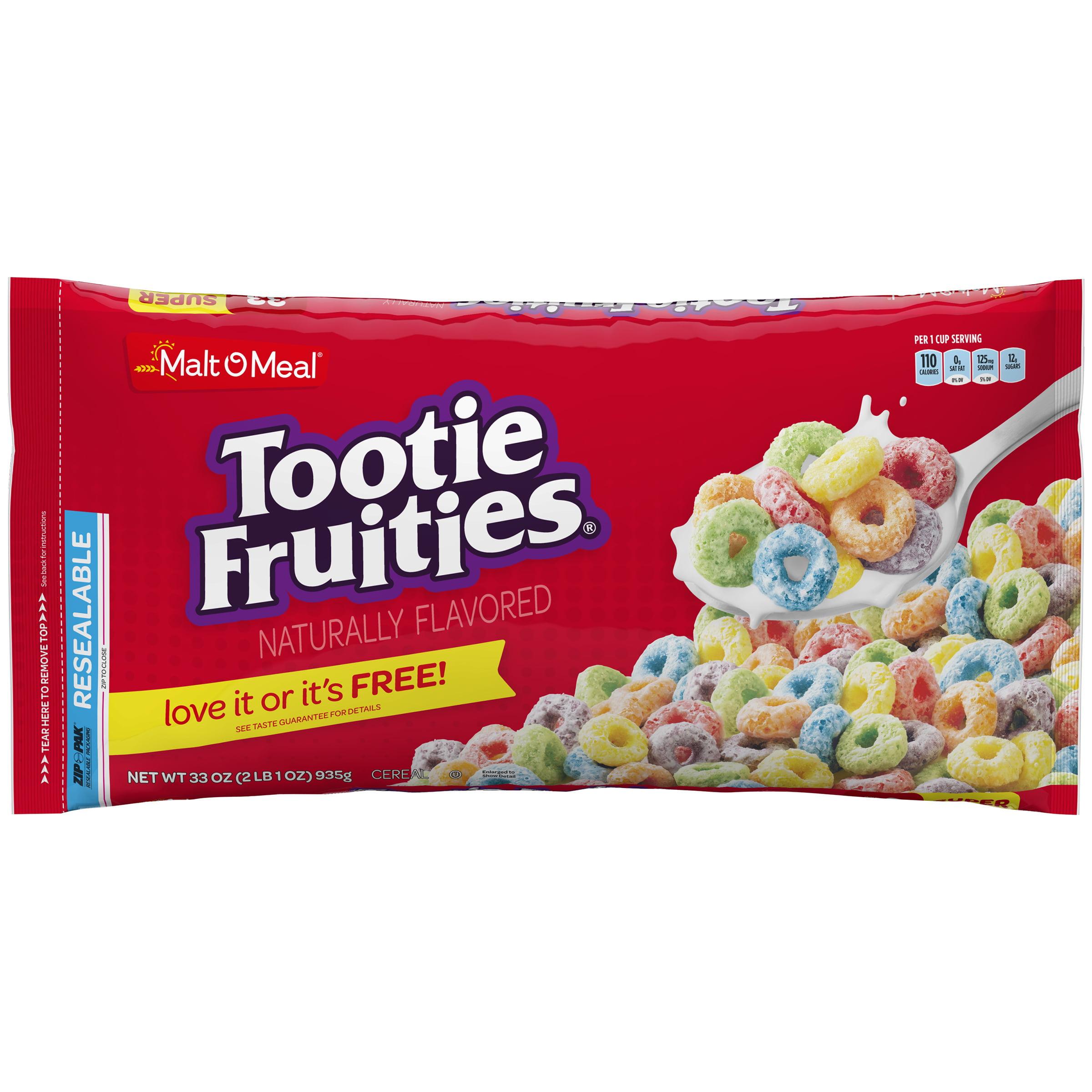Malt-O-Meal Breakfast Cereal, Tootie Fruities, 33 Oz, Zip