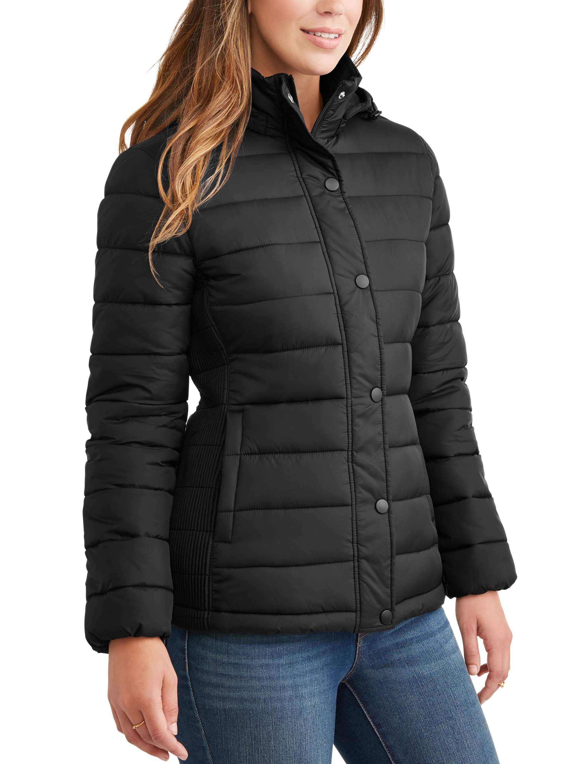 c7de1b554fa Time and Tru Women s Hooded Puffer Jacket – Walmart Inventory ...