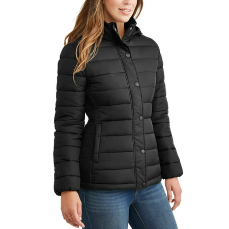 - Time and Tru Women's Hooded Puffer Jacket