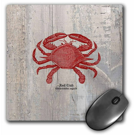 3Drose Red Crab On Wood  Beach Themed Art  Fish  Mouse Pad  8 By 8 Inches