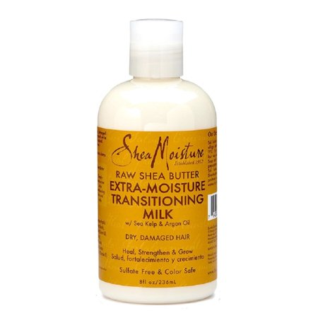 SheaMoisture Raw Shea Butter Extra-Moisture Transitioning Milk, 8 Ounce, For dry, damaged hair By Shea (Raw Shea Butter Extra Moisture Transitioning Milk)