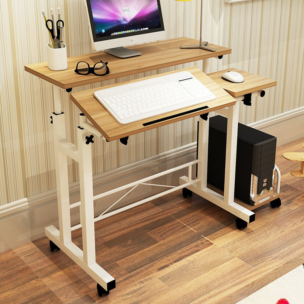Estink Sturdy Rolling Computer Desk, Height and Tilt Adjustable Mobility Work Station Cart, Heavy Duty Modern Laptop Table Standing for Home Office