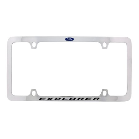 Logo Solid Brass License Plate (Ford Explorer with Logo Thin Rim Chrome Plated Brass Metal License Plate Frame Holder 4 Hole)