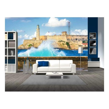 wall26 - Hurricane in Havana with a View of The Castle of El Morro and Big Waves Crashing Against The Wall - Removable Wall Mural   Self-Adhesive Large Wallpaper - -