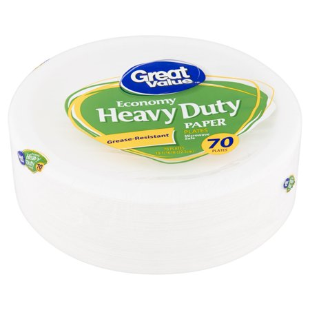 Great Value Economy Heavy Duty Paper Plates, 70 count (Whale Paper Plates)
