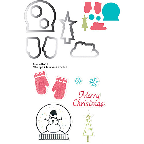 Sizzix Holiday Collection Framelits Die And Repositionable Rubber Stamp Set Mittens And Snow Globe