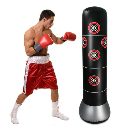 WALFRONT Fitness Punching Bag Heavy Punching Bag Inflatable Punching Tower Bag Boxing Kick Training Tumbler Bag Pressure Relief Accessory, Fitness Play Adults De-Stress Boxing Target Bag - Inflatable Punching Bags
