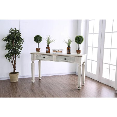 Wooden Sofa Table with Carved Turned Legs, Antique White ()