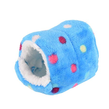 CosCosX Small Animal Sleep Tube Hanging Cozy Bed Pet House Cage Hammock Cave Hut Winter Warm Cute Nest Tent for Dog Cat Parrot Chinchilla Hamster Guinea Pig Rabbit Squirrel Hedgehog Rat Blue-Medium (Guinea Pig Play Huts)