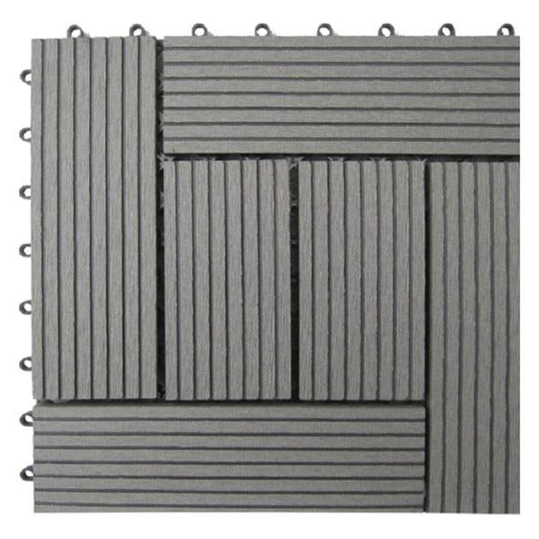 Naturesort N4-OTM6G 6-Slat Bamboo Composite Deck Tiles, Grey