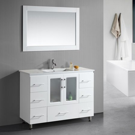 Dcor Design Pratt 48 Single Modern Bathroom Vanity Set With Mirror