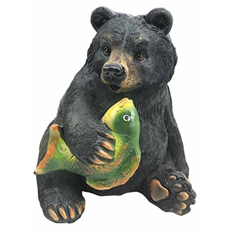 Wildlife Rustic Adorable Honey Black Bear Catching River Fish Money Coin Bank Figurine Statue Great Gift For Nature Lovers Children Forest Collectible Decor