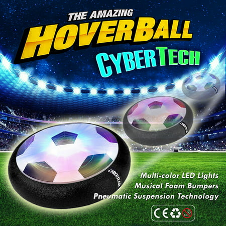 Indoor Toy HOVER BALL, 2-in-1 Hockey Puck or Soccer ball/Football Glides with Battery Powered Motor, Foam Bumper and Color Changing LED Lights for kids of all ages (Customized Soccer Balls)
